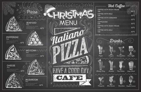 Vintage chalk drawing christmas menu design. Restaurant menu 矢量图像