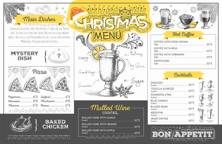 Vintage holiday christmas menu design. Restaurant menu  イラスト・ベクター素材