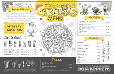 Vintage holiday christmas menu design. Restaurant menu Illustration