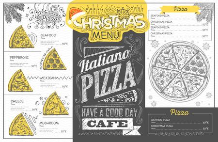 Vintage vakantie kerstmenu ontwerp. Restaurant menu