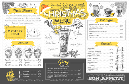 Vintage holiday christmas menu design. Restaurant menu Stock Illustratie