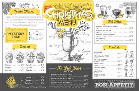 Vintage holiday christmas menu design. Restaurant menu Illustration