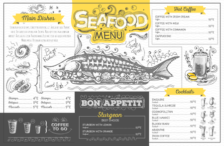 Vintage seafood menu design. Restaurant menu