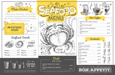 Vintage seafood menu design. Restaurant menu