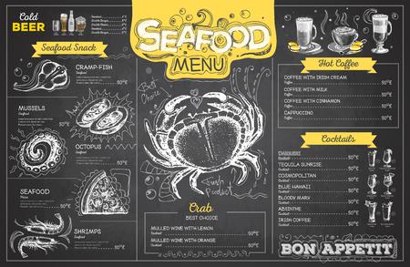 Vintage chalk drawing seafood menu design. Restaurant menu Vectores