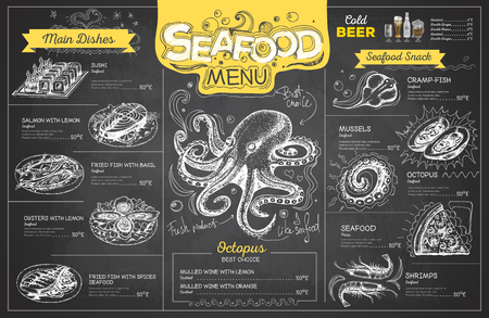 Vintage chalk drawing seafood menu design. Restaurant menu Illustration