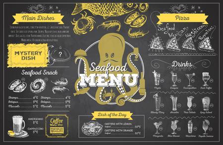 Diseño de menú de mariscos dibujo de tiza vintage. Menú del restaurante
