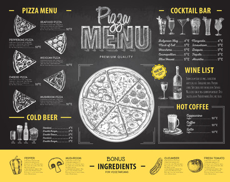 Vintage chalk drawing pizza menu design. Restaurant menu