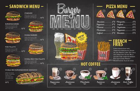 Vintage krijt tekening hamburger menu ontwerp. Fastfood-menu