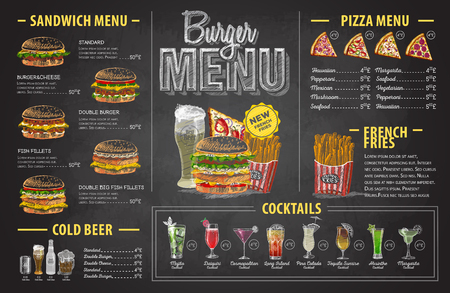 Vintage chalk drawing burger menu design. Fast food menu 스톡 콘텐츠 - 106376788