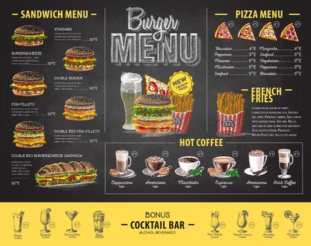 Diseño de menú de hamburguesa dibujo de tiza vintage. Menú de comida rápida Ilustración de vector