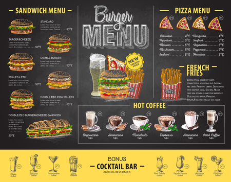 Vintage chalk drawing burger menu design. Fast food menu 版權商用圖片 - 106376790