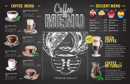 Vintage chalk drawing coffee menu design. Fast food menu