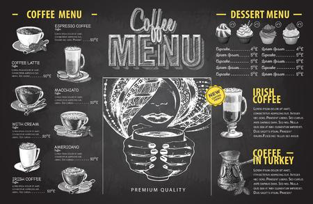 Conception de menu café dessin craie vintage. Menu de restauration rapide Vecteurs