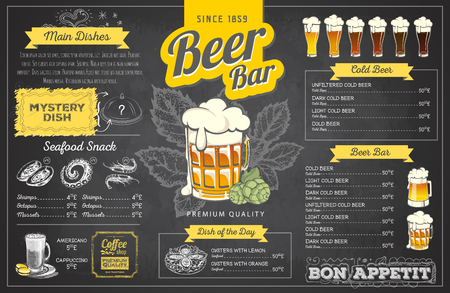 Retro chalk drawing beer menu design. Restaurant menu Vettoriali