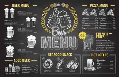 Diseño de menú de cerveza dibujo de tiza retro. Menú del restaurante