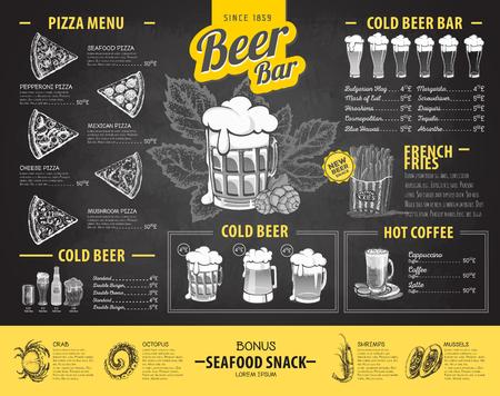 Retro chalk drawing beer menu design. Restaurant menu Illustration