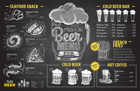 Retro chalk drawing beer menu design. Restaurant menu Illustration