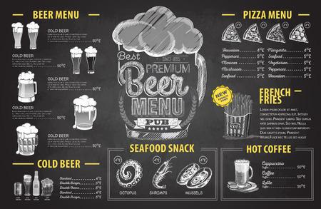Diseño de menú de cerveza dibujo de tiza retro. Menú del restaurante Ilustración de vector