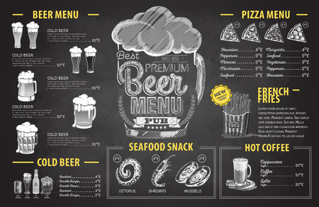 Disegno del menu di birra disegno gesso retrò. Menu del ristorante Vettoriali