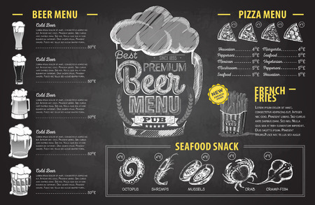 Retro chalk drawing beer menu design. Restaurant menu 向量圖像