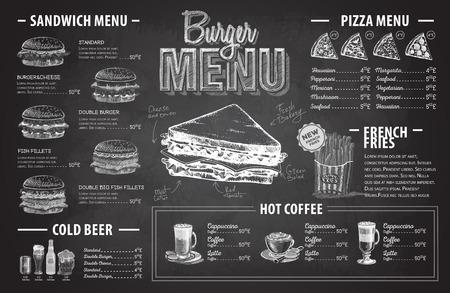 Vintage chalk drawing burger menu design. Fast food menu