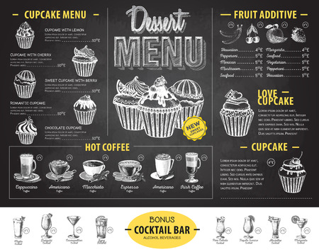Vintage chalk drawing dessert menu design. Fast food menu