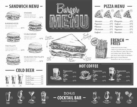 Vintage burger menu design. Fast food menu