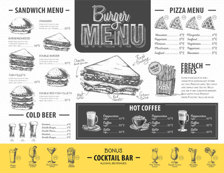 Vintage burger menu design. Fast food menu