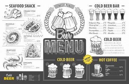Vintage beer menu design. Restaurant menu