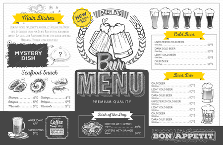 Vintage beer menu design. Restaurant menu
