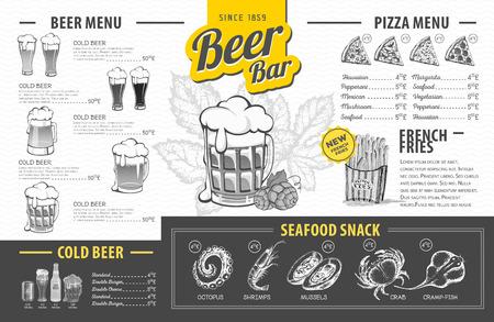 Progettazione di menu di birra vintage. Menu del ristorante