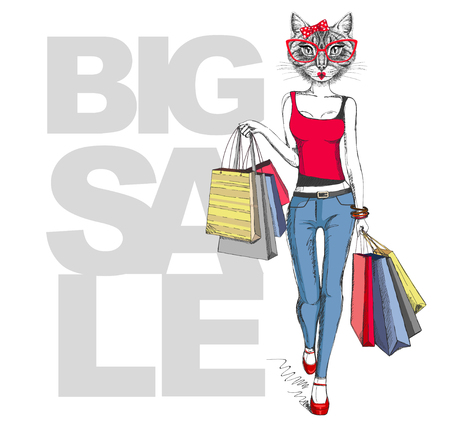Retro Hipster animal girl cat. Big sale hipster poster with woman model