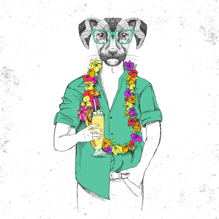 Retro Hipster animal dog with tropic cocktail