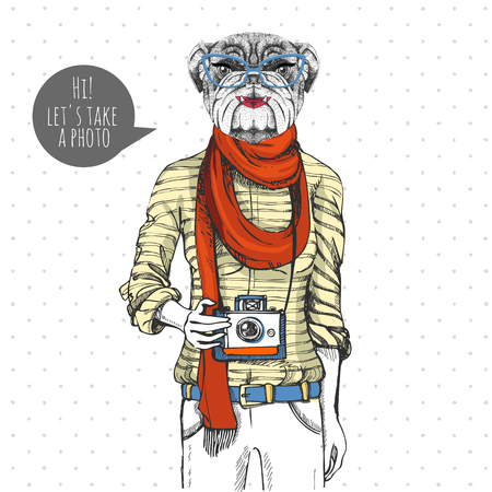 Retro Hipster animal bulldog with photo camera. Woman model