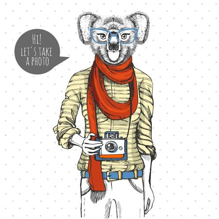 Retro Hipster animal koala with photo camera. Woman model