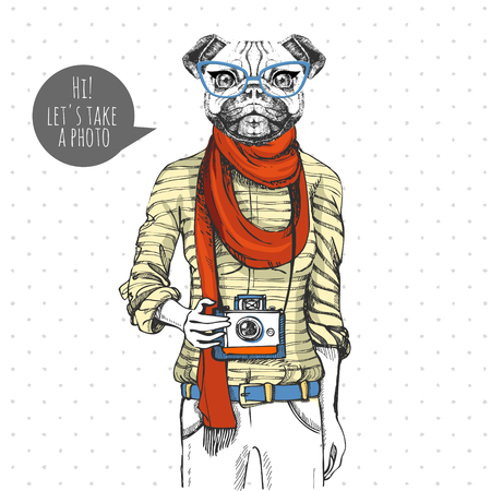 Retro Hipster animal pug-dog with photo camera. Woman model Stock Illustratie