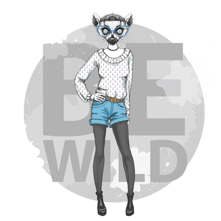 Retro Hipster fashion animal lemur. Woman model
