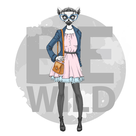 Retro Hipster fashion animal lemur. Woman model