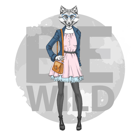 Retro Hipster Mode Tier Fuchs. Frauenmodell