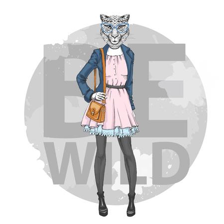 Retro Hipster fashion animal cheetah. Woman model