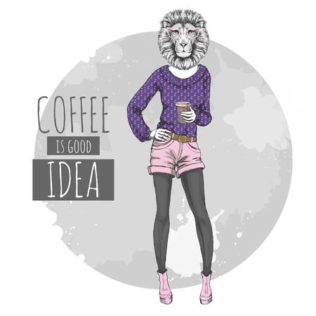 Retro Hipster fashion animal lion with coffee. Woman model