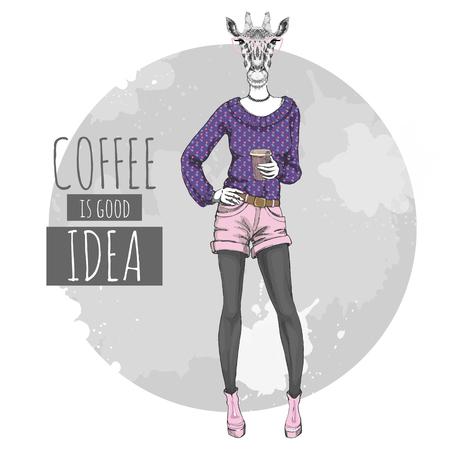 Retro Hipster fashion animal giraffe with coffee. Woman model