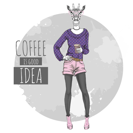 Retro Hipster fashion animal giraffe with coffee. Woman model