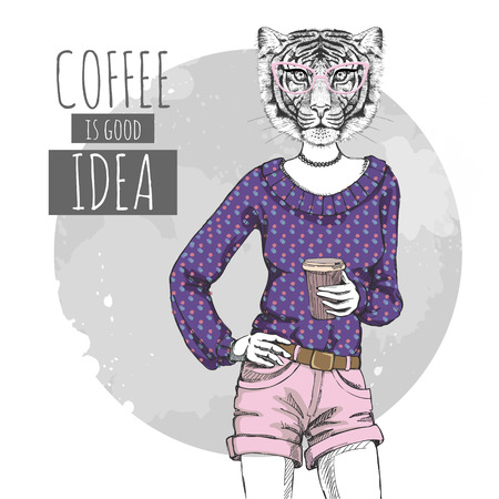 Retro Hipster fashion animal tiger with coffee. Woman model Illustration
