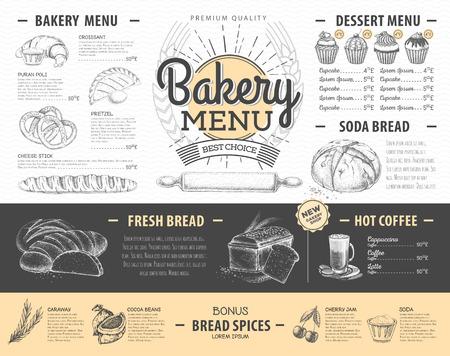 Vintage bakery menu design. Restaurant menu