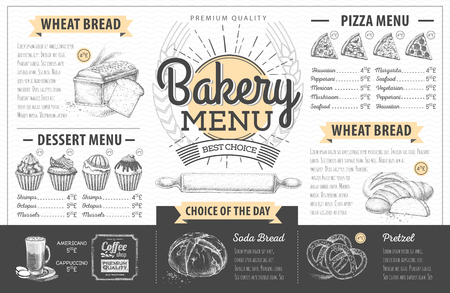 Vintage bakery menu design. Restaurant menu