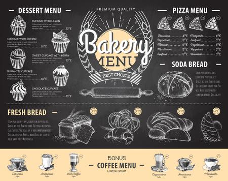 Vintage chalk drawing bakery menu design. Restaurant menu