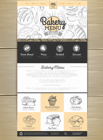 Bakery menu concept Web site design. Corporate identity.
