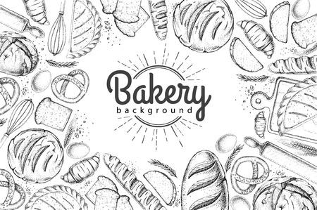Bäckerei Hintergrund. Draufsicht auf Backwaren Vektorgrafik